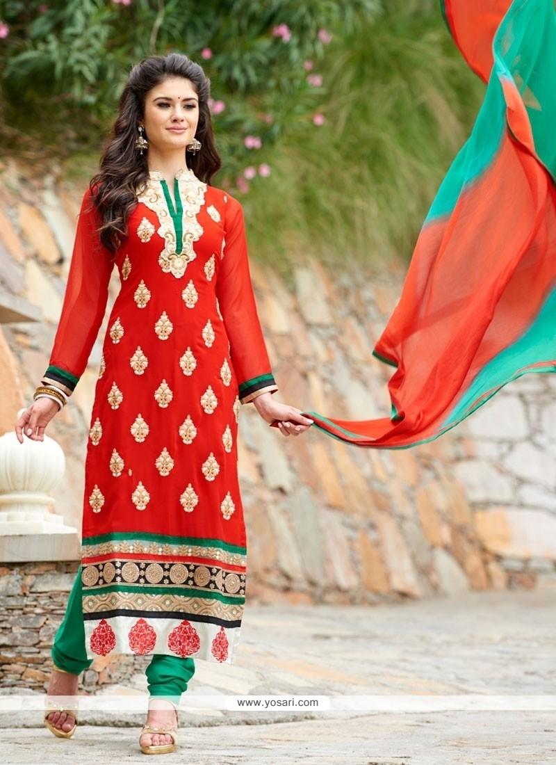 Debonair Georgette Resham Work Churidar Salwar Kameez