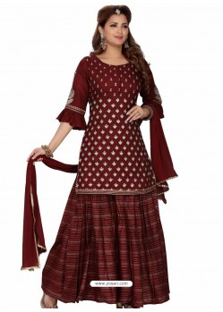 Maroon Stylish Readymade Party Wear Salwar Suit
