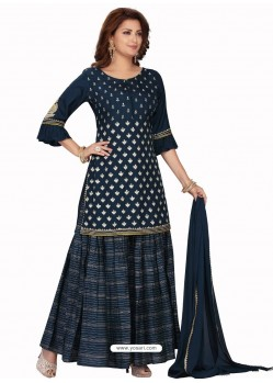 Teal Blue Stylish Readymade Party Wear Salwar Suit
