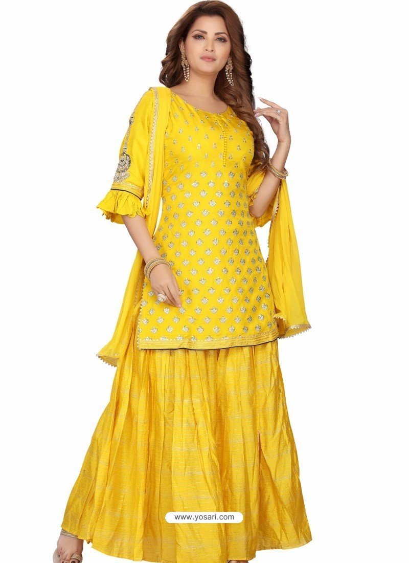 Yellow Stylish Readymade Party Wear Salwar Suit
