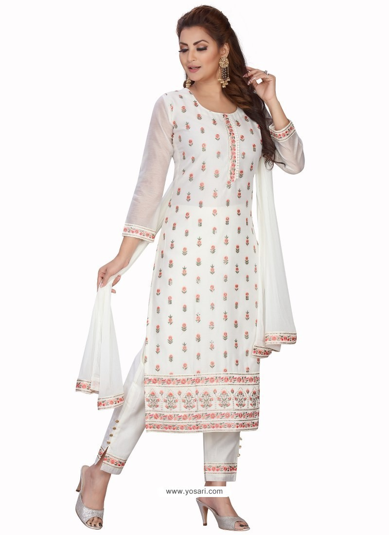 White Stylish Readymade Party Wear Salwar Suit