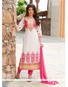 Ruritanian Georgette Off White Churidar Suit