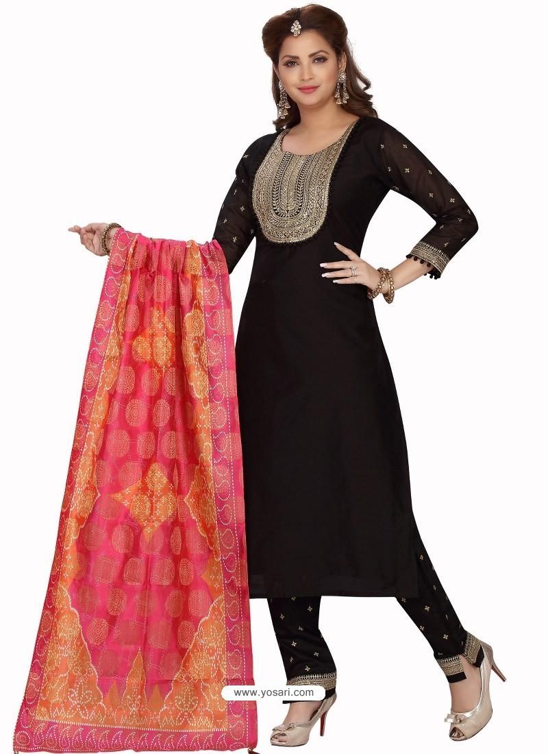 Black Stylish Readymade Party Wear Salwar Suit