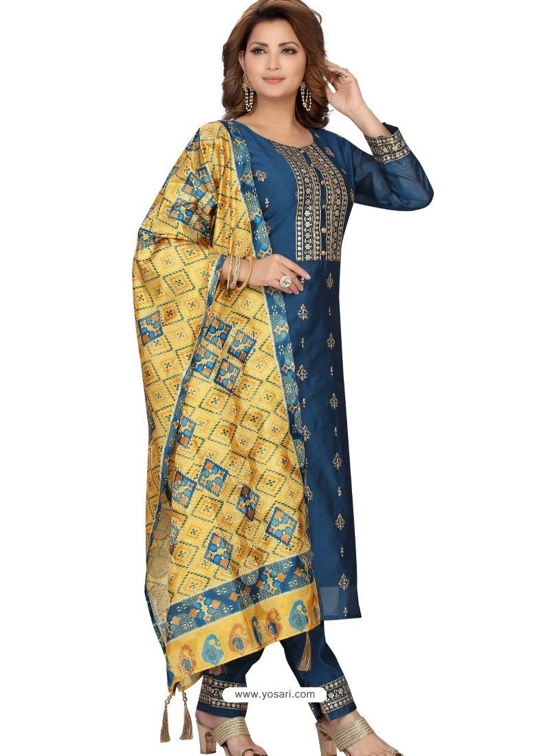 Dark Blue Stylish Readymade Party Wear Salwar Suit