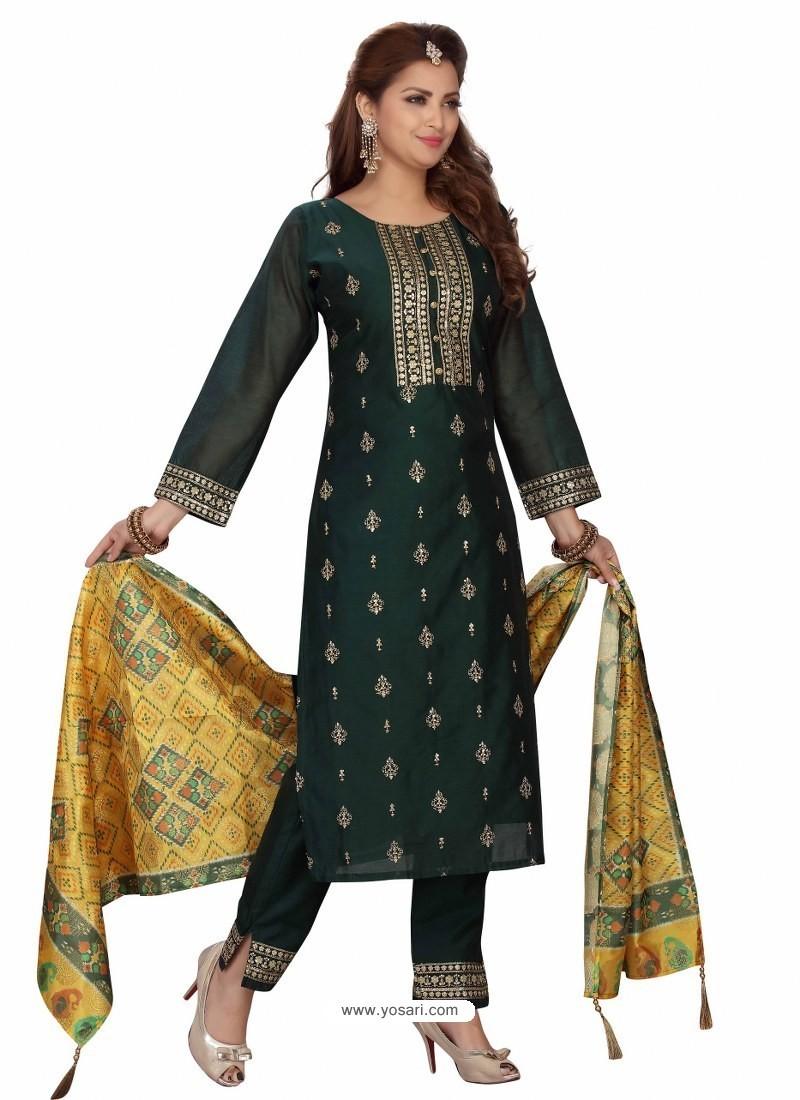 Dark Green Stylish Readymade Party Wear Salwar Suit