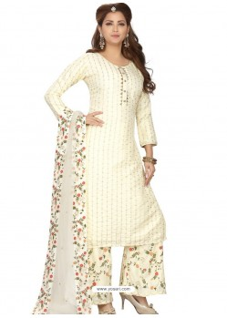 Off White Stylish Readymade Party Wear Salwar Suit