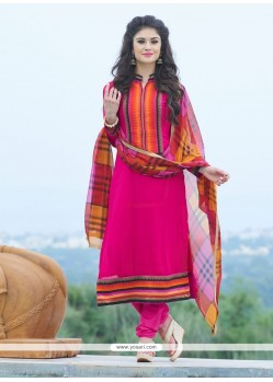 Jazzy Hot Pink Lace Work Churidar Salwar Suit