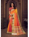 Orange Designer Party Wear Handloom Silk Sari
