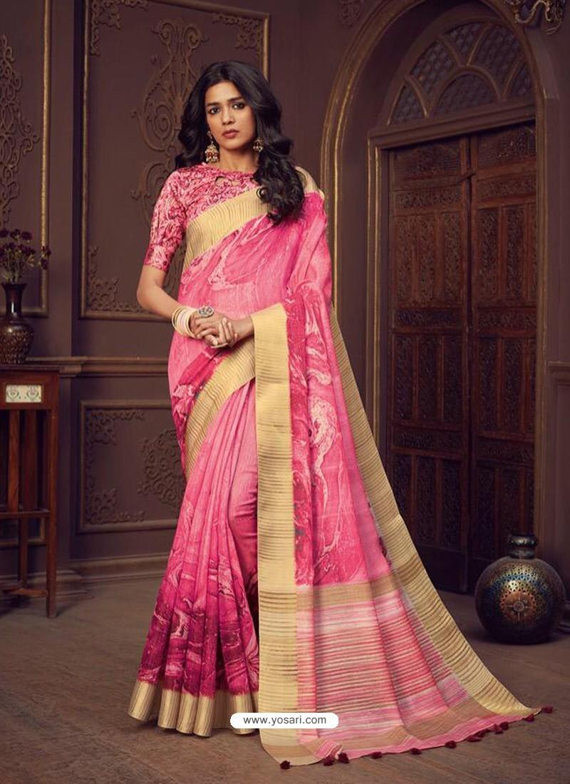 Pink Designer Party Wear Handloom Silk Sari