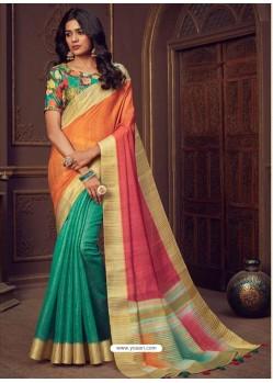 Multi Colour Designer Party Wear Handloom Silk Sari