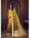 Yellow Designer Party Wear Handloom Silk Sari