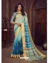 Light Grey Designer Party Wear Handloom Silk Sari