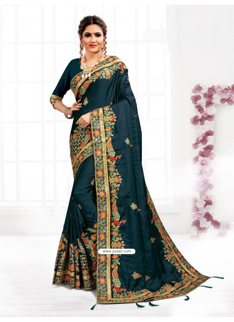Peacock Blue Astonishing Party Wear Pure Satin Wedding Sari