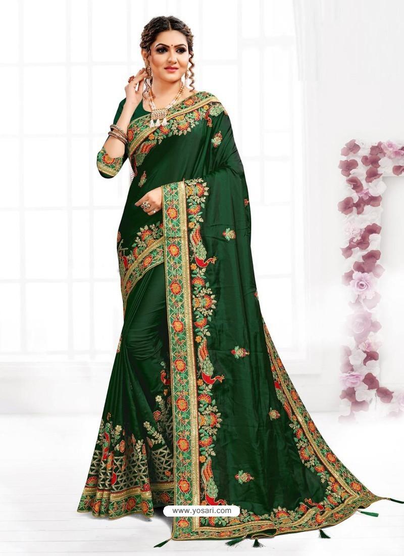 Dark Green Astonishing Party Wear Pure Satin Wedding Sari