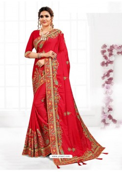 Red Astonishing Party Wear Pure Satin Wedding Sari