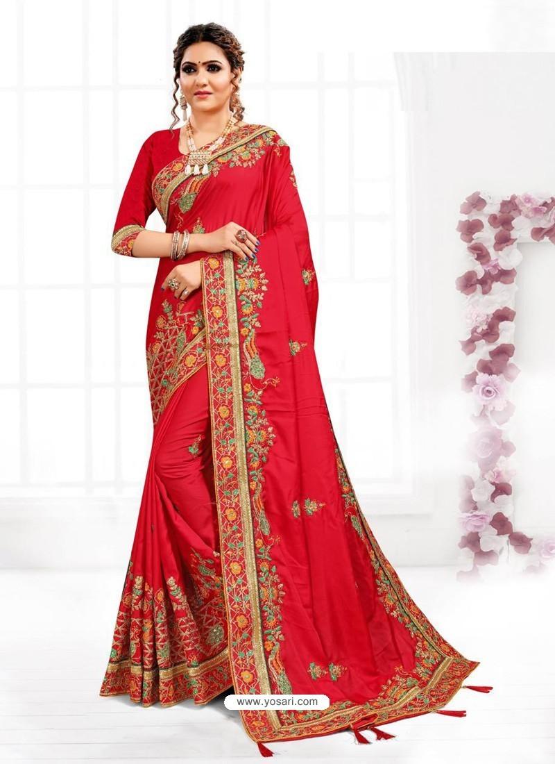 Red Astonishing Party Wear Pure Satin Wedding Sari