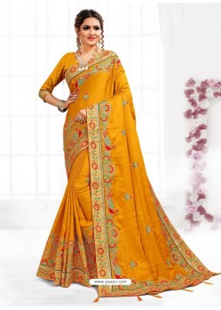 Mustard Astonishing Party Wear Pure Satin Wedding Sari