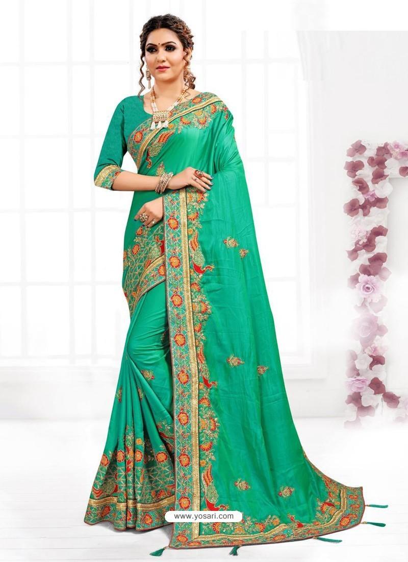 Jade Green Astonishing Party Wear Pure Satin Wedding Sari