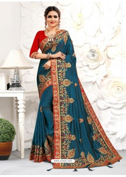Teal Blue Astonishing Party Wear Pure Satin Wedding Sari