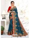 Teal Blue Astonishing Party Wear Pure Satin Wedding Sari