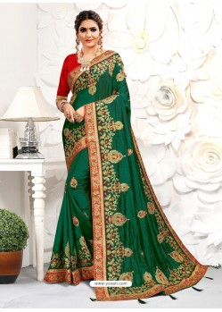 Forest Green Astonishing Party Wear Pure Satin Wedding Sari