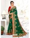 Forest Green Astonishing Party Wear Pure Satin Wedding Sari