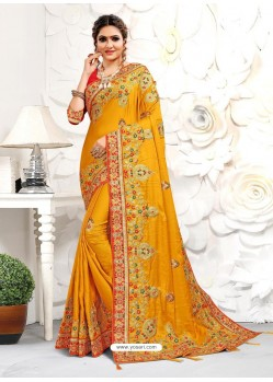 Yellow Astonishing Party Wear Pure Satin Wedding Sari