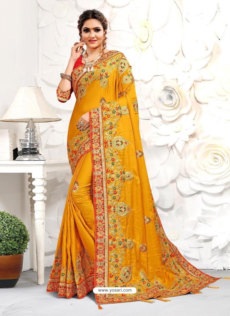 Yellow Astonishing Party Wear Pure Satin Wedding Sari