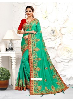 Jade Green Astonishing Party Wear Pure Satin Wedding Sari
