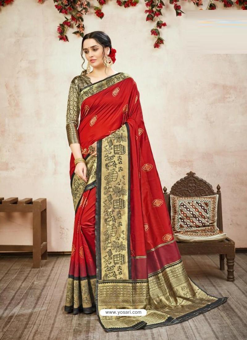 Red Designer Party Wear Banarasi Silk Sari