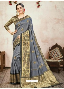 Grey Designer Party Wear Banarasi Silk Sari