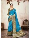 Blue Designer Party Wear Banarasi Silk Sari