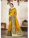 Yellow Designer Party Wear Banarasi Silk Sari