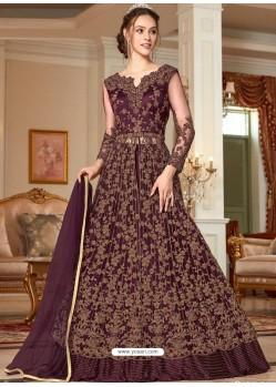 Deep Wine Stunning Heavy Designer Net Party Wear Anarkali Suit