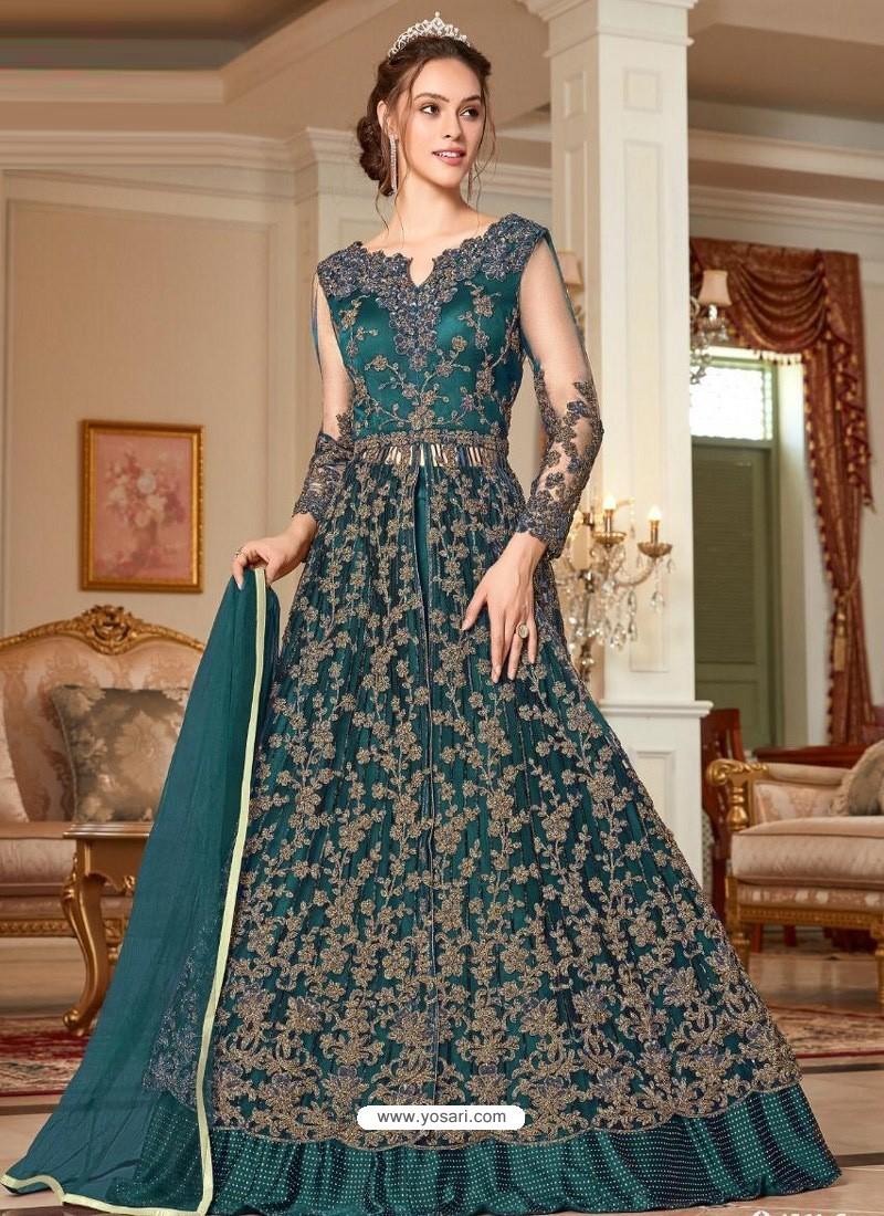 Teal Blue Stunning Heavy Designer Net Party Wear Anarkali Suit