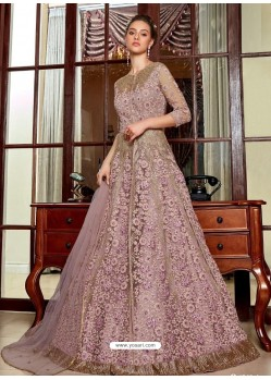 Dusty Pink Stunning Heavy Designer Net Party Wear Anarkali Suit