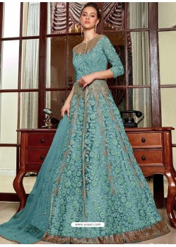 Blue Stunning Heavy Designer Net Party Wear Anarkali Suit