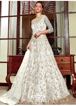 Off White Stunning Heavy Designer Net Party Wear Anarkali Suit