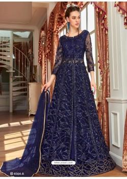 Navy Blue Stunning Heavy Designer Net Party Wear Anarkali Suit