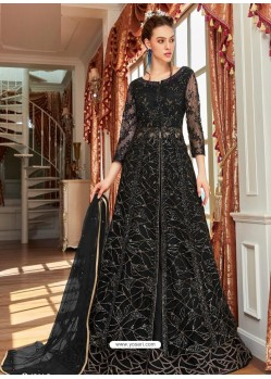 Black Stunning Heavy Designer Net Party Wear Anarkali Suit