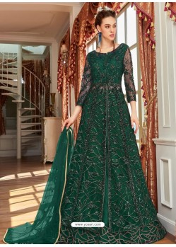 Dark Green Stunning Heavy Designer Net Party Wear Anarkali Suit