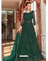Dark Green Stunning Heavy Designer Net Party Wear Anarkali Suit