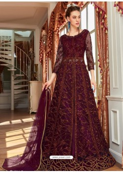 Purple Stunning Heavy Designer Net Party Wear Anarkali Suit