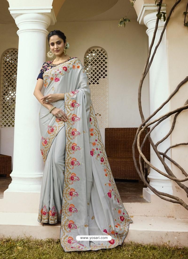 Light Grey Mesmeric Designer Traditional Wear Silk Sari