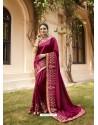 Deep Wine Mesmeric Designer Traditional Wear Silk Sari
