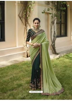 Dark Green Mesmeric Designer Traditional Wear Silk Sari