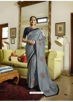 Grey Mesmeric Designer Traditional Wear Silk Sari