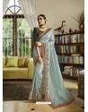 Aqua Grey Mesmeric Designer Traditional Wear Silk Sari