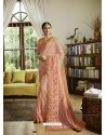 Light Orange Mesmeric Designer Traditional Wear Silk Sari