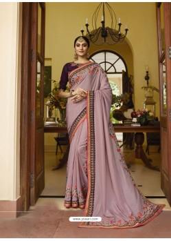 Dusty Pink Mesmeric Designer Traditional Wear Silk Sari
